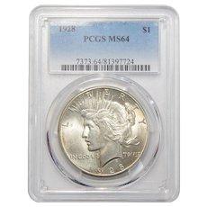 1928 Pcgs MS64 Peace Dollar