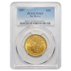 1907 Pcgs MS63 $10 No Motto Indian Gold