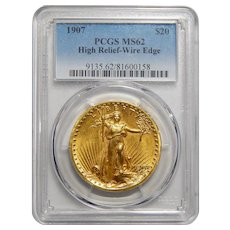 1907 Pcgs MS62 $20 High Relief-Wire Edge St. Gaudens Gold