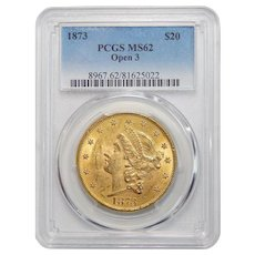 1873 Pcgs MS62 $20 Open 3 Liberty Head Gold