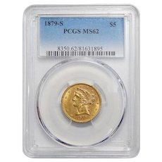 1879-S Pcgs MS62 $5 Liberty Head Gold