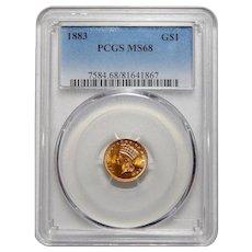 1883 Pcgs MS68 $1 Gold