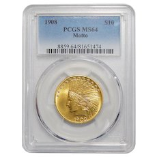 1908 Pcgs MS64 $10 Motto Indian Gold