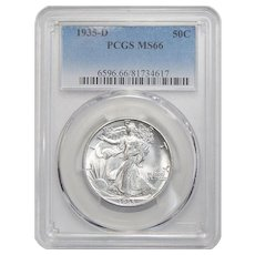1935-D Pcgs MS66 Walking Liberty Half Dollar