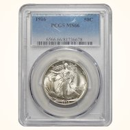 1916 Pcgs MS66 Walking Liberty Half Dollar