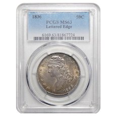 1836 Pcgs Lettered Edge MS63 Capped Bust Half Dollar