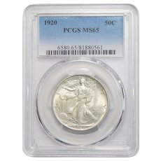 1920 Pcgs MS65 Walking Liberty Half Dollar