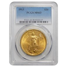 1913 Pcgs MS63 $20 St Gauden
