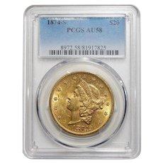 1874-S Pcgs AU58 $20 Liberty Head Gold
