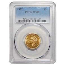 1857 Pcgs MS62 Three Dollar Gold
