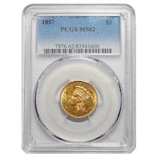 1857 Pcgs MS62 Three Dollar Gold
