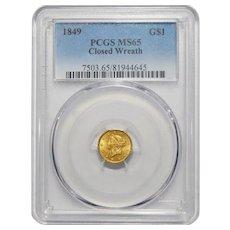 1849 Pcgs MS65 Closed Wreath Gold Dollar