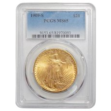 1909-S Pcgs MS65 $20 St. Gaudens Gold
