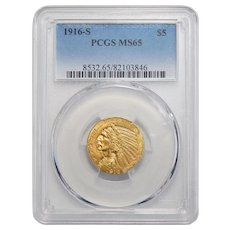 1916-S Pcgs MS65 $5 Indian Gold