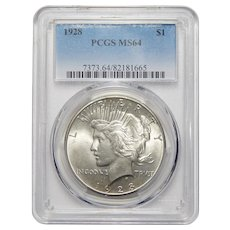 1928 Pcgs MS64 Peace Dollar