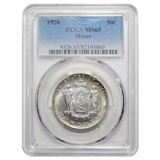 1920 Pcgs MS65 Maine Half Dollar