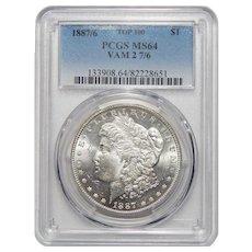 1887/6 Pcgs MS64 VAM 2 7/6 Top-100 Morgan Dollar