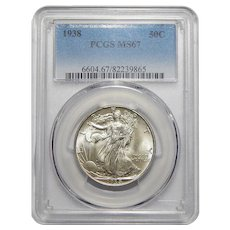 1938 Pcgs MS67 Walking Liberty Half Dollar