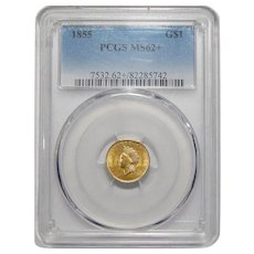 1855 Pcgs MS62+ Gold Dollar
