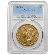 1870-S Pcgs MS60 $20 Liberty Head Gold