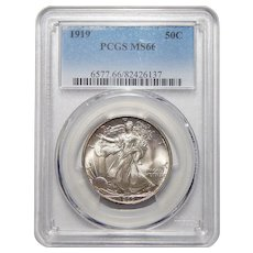 1919 Pcgs MS66 Walking Liberty Half Dollar