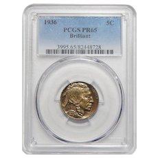 1936 Pcgs PR65 Brilliant Buffalo Nickel