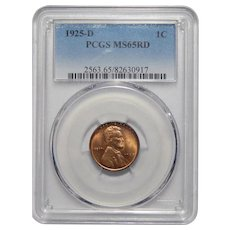 1925-D Pcgs MS65RD Lincoln Wheat Cent
