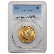1932 Pcgs MS65 $10 Indian Gold