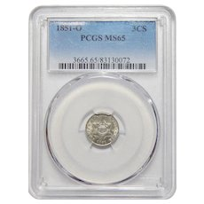 1851-O Pcgs MS65 Three Cent Silver