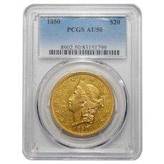 1850 Pcgs AU50 $20 Liberty Head Gold