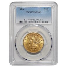 1906 Pcgs MS63 $10 Liberty Head Gold