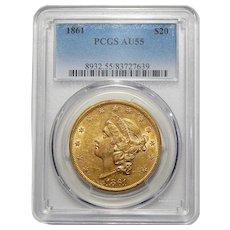 1861 Pcgs AU55 $20 Liberty Head Gold
