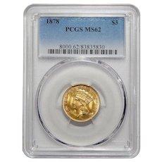 1878 Pcgs MS62 $3 Gold