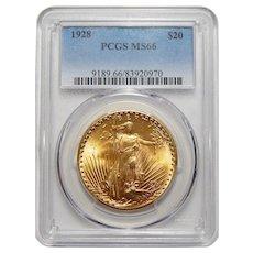 1928 Pcgs MS66 $20 Saint Gaudens