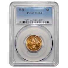 1855 Pcgs MS64 $3 Gold