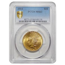 1914 Pcgs MS63 $10 Indian Gold