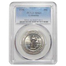 1936 Pgcs MS64 Columbia Half Dollar