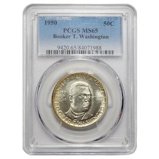 1950 Pcgs MS65 Booker T. Washington Half Dollar
