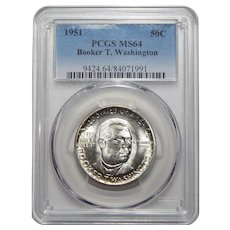 1951 Pcgs MS64 Booker T. Washington Half Dollar