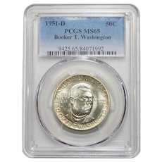 1951-D Pcgs MS65 Booker T. Washington Half Dollar