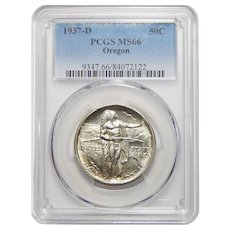 1937-D Pcgs MS66 Oregon Half Dollar