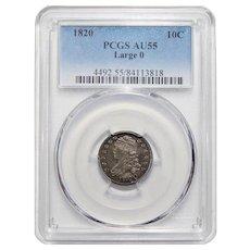 1820 Pcgs AU55 Large 0 Capped Bust Dime