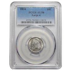 1834 Pcgs AU58 Large 4 Capped Bust Dime