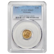 1917 Pcgs MS63 McKinley Gold Dollar