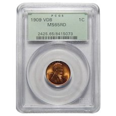 1909 VDB Pcgs MS65RD Lincoln Wheat Cent