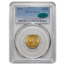 1856 Pcgs/Cac MS63 $2.50 Liberty Head Gold