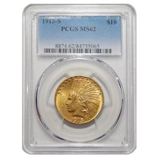1913-S Pcgs MS62 $10 Indian Gold