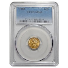 1888 Pcgs MS62 One Dollar Gold