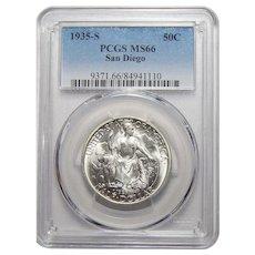 1935-S Pcgs MS66 San Diego Half Dollar