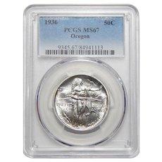 1936 Pcgs MS67 Oregon Half Dollar